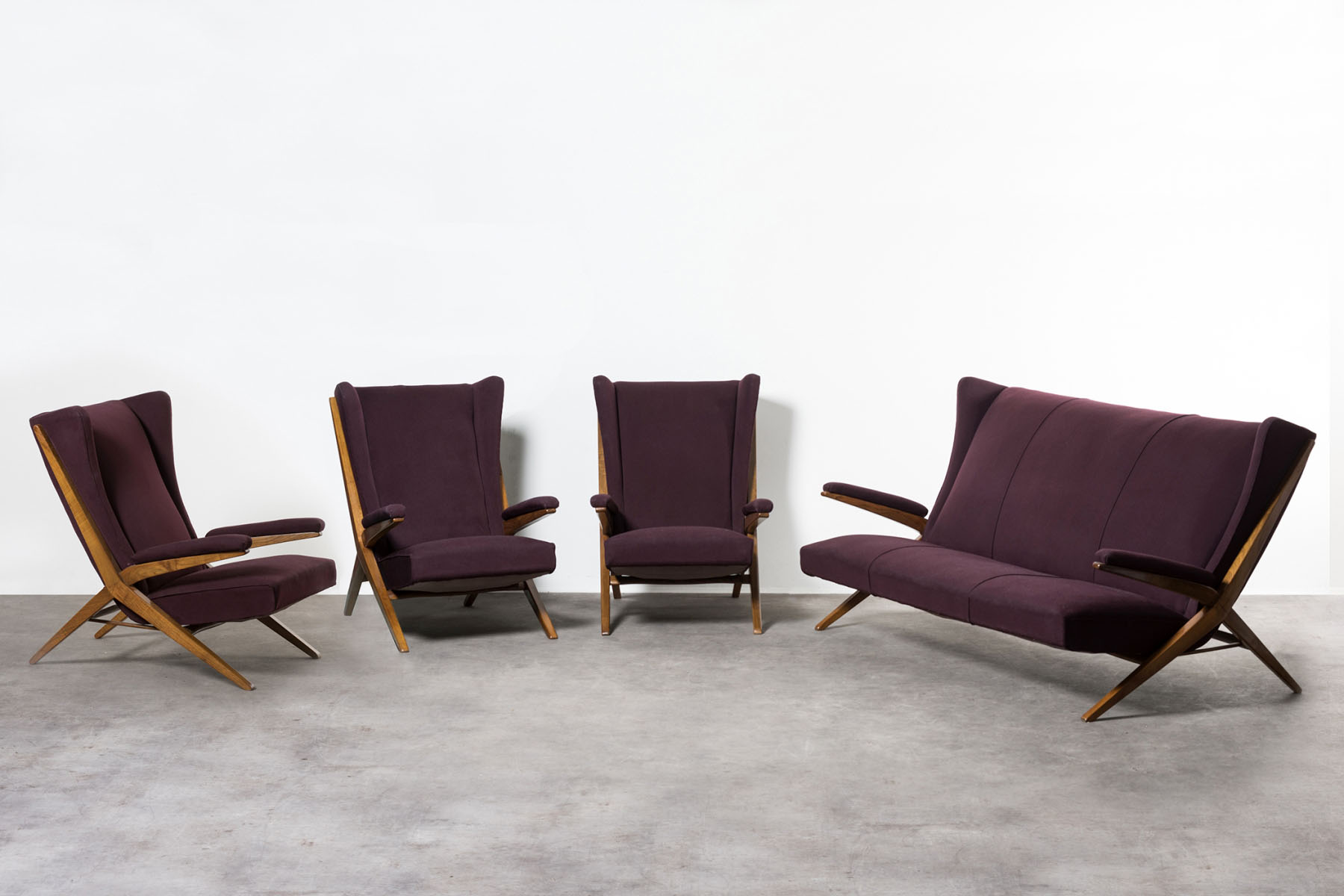 Unique sofa set composed by a sofa and three armchairs Franco Albini pic-1